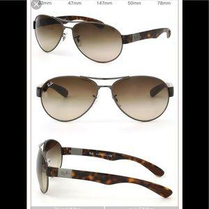 Ray Ban tortoise shell gunmetal aviator sunglasses